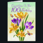"""100th Birthday Yellow And Purple Crocus Card<br><div class=""""desc"""">Floral Birthday Card,  Bursting with Yellow And Purple Crocus With Matching Butterflies,  the background has a subtle blend and bokeh lights dance in the background,  a pretty card for the flower lover on their special day. With thanks to E.D.Resario</div>"""