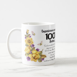 100th Birthday Yellow Rose And Butterfly Gift Mug, Coffee Mug
