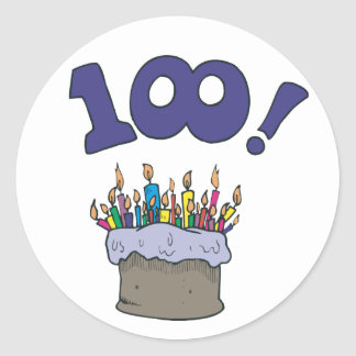 100th Cake Round Stickers