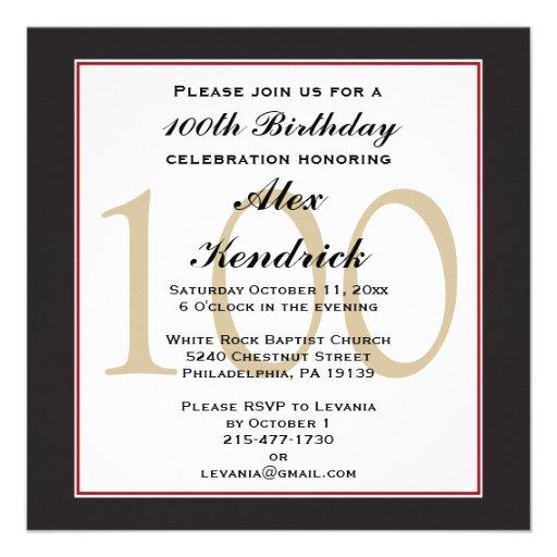 100th Centennial Birthday Invitation   Zazzle