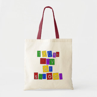 100th Day of School Block Letters Tote Bag