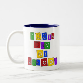 100th Day of School Block Letters Two-Tone Coffee Mug