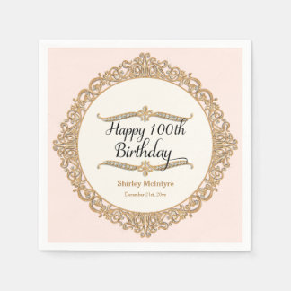 100th Happy Birthday Party Celebration Round Decor Napkin