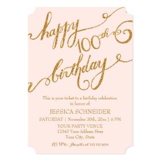 100th, Hundredth Birthday Party Celebration 5x7 Paper Invitation Card