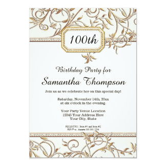 100th Hundredth Glam Old Hollywood Regency Party Card