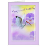 100th Ibis Bird and Pansy Birthday Card