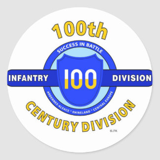 """100TH INFANTRY DIVISION """"CENTURY DIVISION"""" CLASSIC ROUND STICKER"""