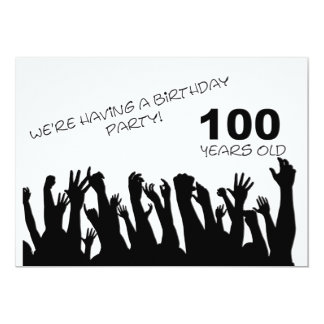 """100th party invitation with cheering crowds 5"""" x 7"""" invitation card"""