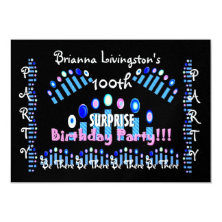 100th SURPRISE Birthday Party Candles Invitation