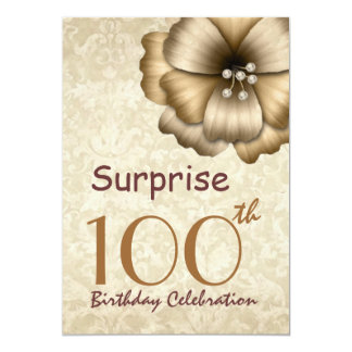100th SURPRISE Birthday Party Gold Flower Invitation