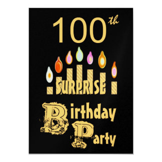 100th SURPRISE Birthday Party Invitation - GOLD