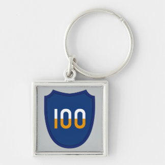 100th Training Division Silver-Colored Square Keychain