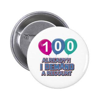 100th year birthday designs 2 inch round button
