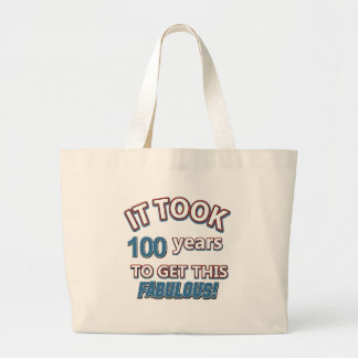 100th year birthday designs tote bags