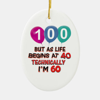 100th year birthday designs Double-Sided oval ceramic christmas ornament