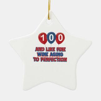 100th year birthday designs christmas ornament