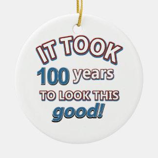 100th year birthday designs ornaments