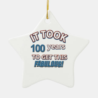 100th year birthday designs Double-Sided star ceramic christmas ornament