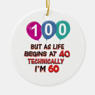 100th year birthday designs ornament