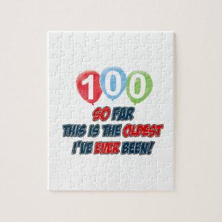 100th year old birthday design jigsaw puzzle