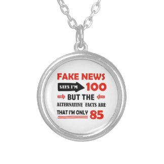 100th year old birthday gifts silver plated necklace