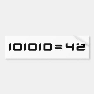 101010 = 42 BUMPER STICKER