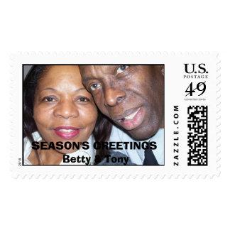 101_0082, SEASON'S GREETINGSBetty & Tony Postage Stamp