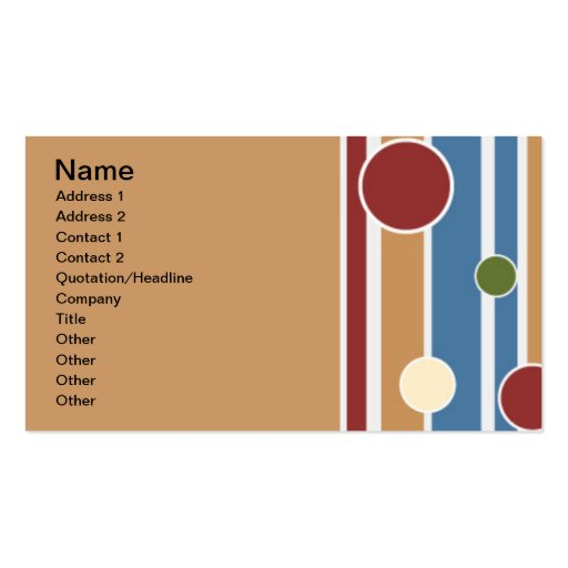 101 COLORFUL STRIPES CIRCLES PATTERNS FUN PARTY GR BUSINESS CARDS