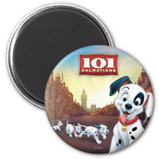 101 Dalmatian Patches Wagging his Tail 2 Inch Round Magnet