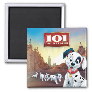 101 Dalmatian Patches Wagging his Tail 2 Inch Square Magnet