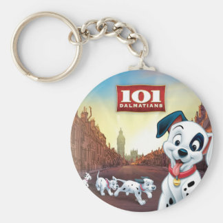101 Dalmatian Patches Wagging his Tail Basic Round Button Keychain