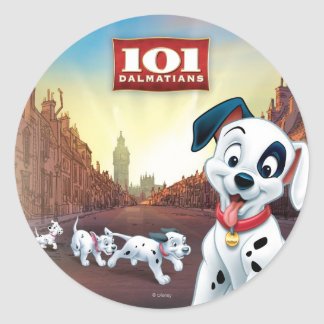 101 Dalmatian Patches Wagging his Tail Classic Round Sticker