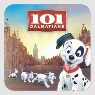 101 Dalmatian Patches Wagging his Tail Square Sticker