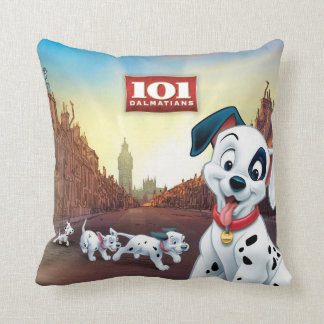 101 Dalmatian Patches Wagging his Tail Throw Pillow