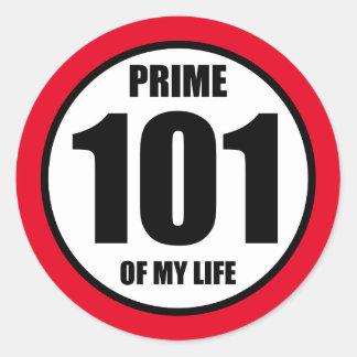 101 - prime of my life classic round sticker
