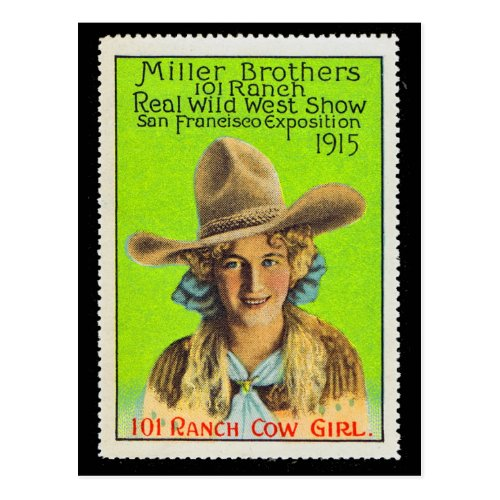 101 Ranch Cowgirl Poster Stamp 2 Panama Pacific  Postcard