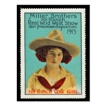 101 Ranch Cowgirl Poster Stamp #3, Panama-Pacific Postcard
