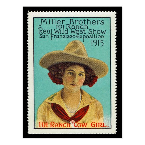 101 Ranch Cowgirl Poster Stamp 3 Panama_Pacific Postcard
