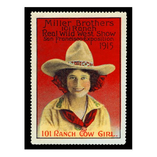 101 Ranch Cowgirl Poster Stamp 4 Panama_Pacific Postcard