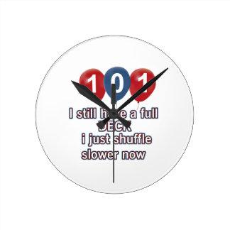 101 year funny birthday designs round clock