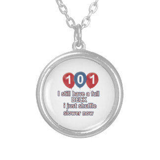 101 year funny birthday designs round pendant necklace