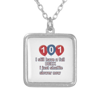 101 year funny birthday designs square pendant necklace