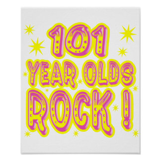 101 Year Olds Rock Pink Poster Print