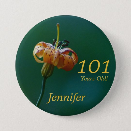 101 Years Old, Golden Lily Button Pin