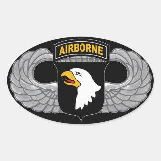 """101o División aerotransportada de """"Eagles griterío Pegatina Ovalada"""