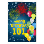 101o Tarjeta de cumpleaños con los fuegos