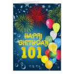 101o Tarjeta de cumpleaños con los fuegos artifici