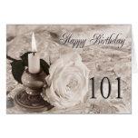 101o Tarjeta de cumpleaños con un color de rosa an