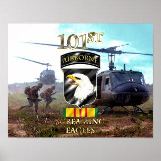 101o Veterano v2 de Vietnam de la división aerotra Póster