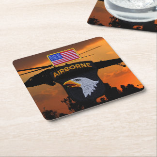 101st ABN Airborne Screaming Eagles Veterans LRRP Square Paper Coaster